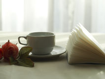 Fresh morning coffee on the bed, select focus. stock image
