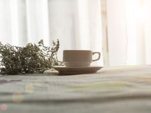 Fresh morning coffee on the bed royalty free stock photos