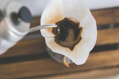 Fresh morning coffee in the Chemex filter Stock Image