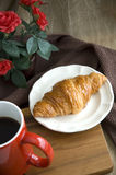Fresh morning with croissant breakfast Royalty Free Stock Photos
