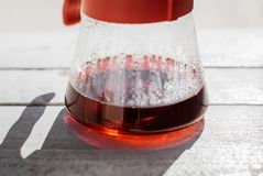 Fresh morning ruby filter coffee stock photography