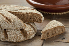 Fresh Moroccan semolina bread Stock Photos
