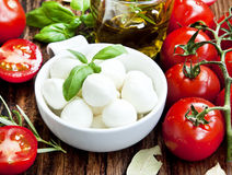 Fresh Mozzarella, Basil, and Cherry Tomatoes Royalty Free Stock Image