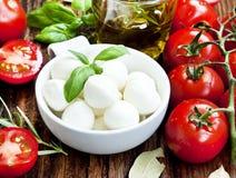 Fresh Mozzarella, Basil, and Cherry Tomatoes Royalty Free Stock Image