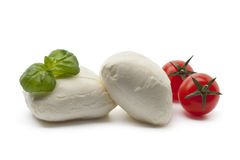 Fresh Mozzarella with basil leaves and tomatoes Stock Image
