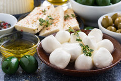 Fresh mozzarella cheese on a plate Royalty Free Stock Photo