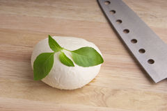 Fresh mozzarella on  chopping board of wood Stock Images