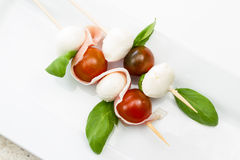 Fresh mozzarella and tomato appetizer Royalty Free Stock Image