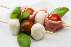 Fresh mozzarella and tomato appetizer Royalty Free Stock Images
