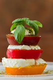 Fresh mozzarella and tomato salad. Stack of heirloom tomatoes with fresh mozzarella dressed with extra virgin olive oil and fresh green basil spiced with herbs Stock Photography