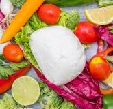 Fresh mozzarella with vegetables as ingredient Royalty Free Stock Photo
