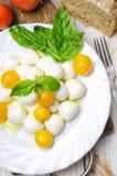 Fresh mozzarella with yellow tomatoes and basil. Royalty Free Stock Image