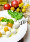 Fresh mozzarella with yellow tomatoes and basil. Stock Photography