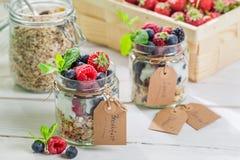 Fresh muesli with berry fruits and yogurt Royalty Free Stock Image