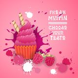 Fresh Muffin Choose Your Taste Logo Cake Sweet Beautiful Cupcake Dessert Delicious Food. Flat Vector Illustration royalty free illustration