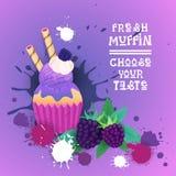 Fresh Muffin Choose Your Taste Logo Cake Sweet Beautiful Cupcake Dessert Delicious Food. Flat Vector Illustration royalty free illustration