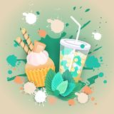 Fresh Muffin With Cocktail Logo Cake Sweet Beautiful Cupcake Dessert Delicious Food. Flat Vector Illustration vector illustration