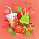 Fresh Muffin With Cocktail Logo Cake Sweet Beautiful Cupcake Dessert Delicious Food. Flat Vector Illustration royalty free illustration
