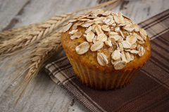 Fresh muffin with oatmeal and ears of rye grain on checkered tablecloth, delicious healthy dessert Royalty Free Stock Photography