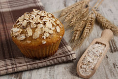 Fresh muffin with oatmeal, rye flour and ears of rye grain, delicious healthy dessert Royalty Free Stock Photos