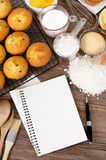 Cookbook for recipe with cake baking ingredients, copy space, vertical Stock Photography
