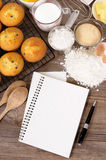 Baking cookbook background, cakes, recipe ingredients, copy space, vertical Royalty Free Stock Image