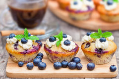 Fresh muffins with blueberry and cup of  coffee on wooden backgro Royalty Free Stock Photos