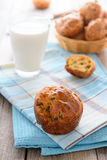 Fresh muffins and glass of milk Royalty Free Stock Photography