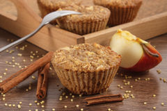 Fresh muffins with millet groats, cinnamon and apple baked with wholemeal flour, delicious healthy dessert Stock Image