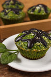 Fresh muffins with spinach, desiccated coconut and chocolate glaze, delicious healthy dessert Royalty Free Stock Photography