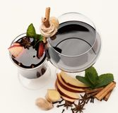 Fresh and mulled wine in glasses with decor. stock photos