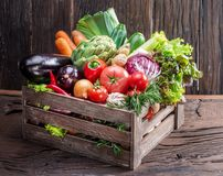 Fresh multi-colored vegetables in wooden crate. Wooden background. stock images