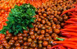 Fresh multicolored cherry tomatoes and red hot peppers, along with a bunch of mint stock photo