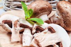 Fresh mushroom on cutting board Stock Photography