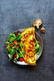 Mushroom omelette and salad stock image