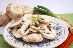 Fresh mushroom slices Royalty Free Stock Photography