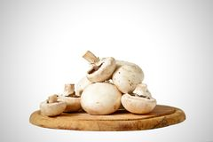 Fresh mushroom on wooden tray. On white Royalty Free Stock Images