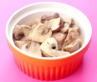 Fresh mushrooms with bacon and cream Royalty Free Stock Photography