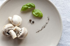 Fresh mushrooms with basil Stock Photo