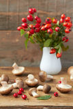 Fresh mushrooms. And brier on wooden background Royalty Free Stock Photo