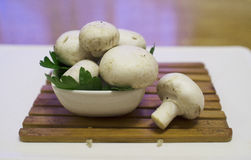 Fresh mushrooms champignons Stock Photography