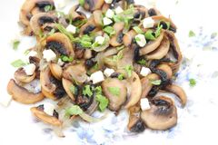 Fresh mushrooms. With cheese and basil Stock Image