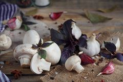 Fresh mushrooms and garlic. On wooden background Stock Photography