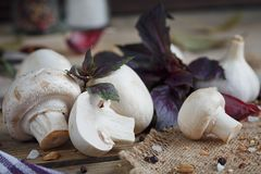 Fresh mushrooms and garlic. On wooden background Royalty Free Stock Images