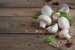 Fresh mushrooms and garlic on wooden background. Fresh mushrooms and garlic on rustic wooden background Royalty Free Stock Images