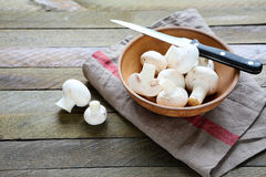 Fresh mushrooms and knife Royalty Free Stock Photo