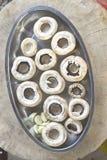 Fresh mushrooms in a metal bowl Royalty Free Stock Photos