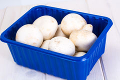 Fresh mushrooms in the packaging box. Studio Photo Stock Images