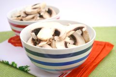 Fresh mushrooms. Some white mushrooms in a bowl Royalty Free Stock Images