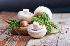 Fresh mushrooms with spices and herbs on old wooden board. Royalty Free Stock Photo